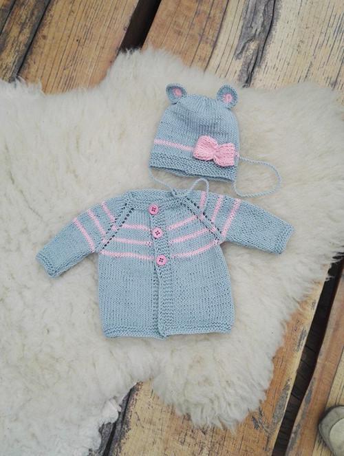 Dětský svetřík a čepička-soupravička bavlněná