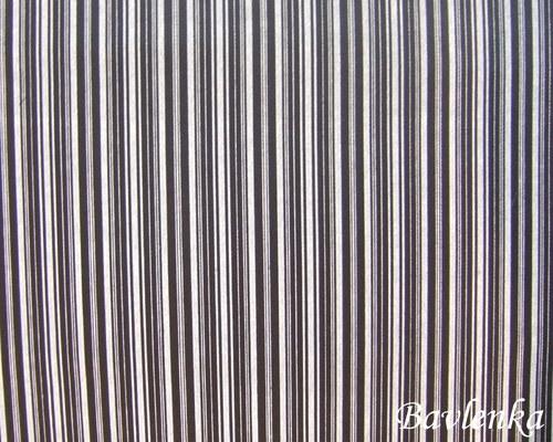 Bavlna šedý proužek na černé 225g/m2