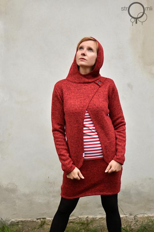 Ležérní svetřík červený s kapucí, vel. XXL
