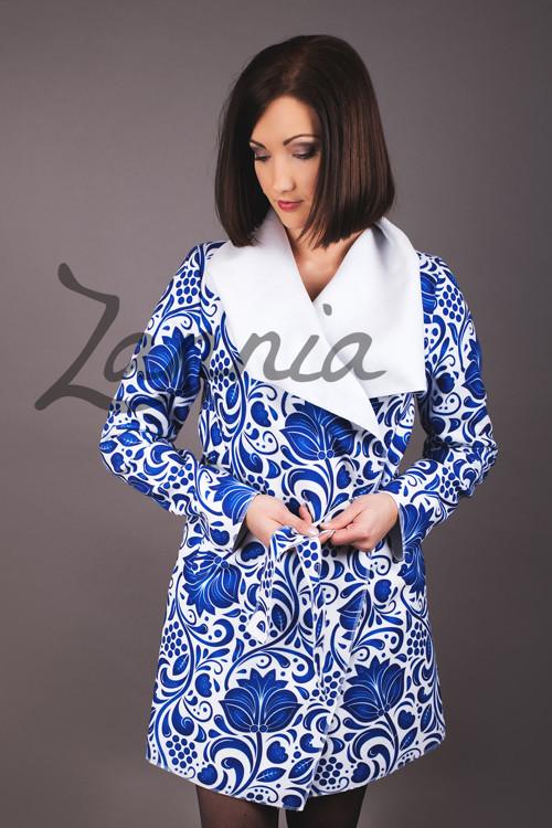 Kabát s folklórním motivem - královský modrá
