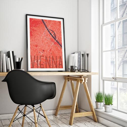 VÍDEŇ, 50x70cm, elegantní, červená