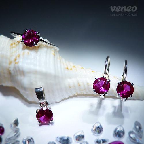 Diana 6 - sada šperků s rubíny
