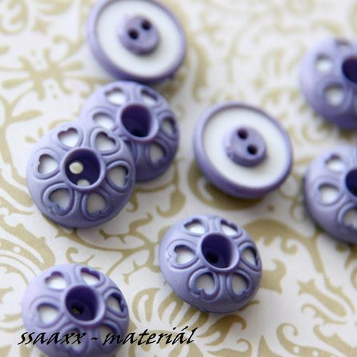 Knoflík se srdíčky - fialová/bílá