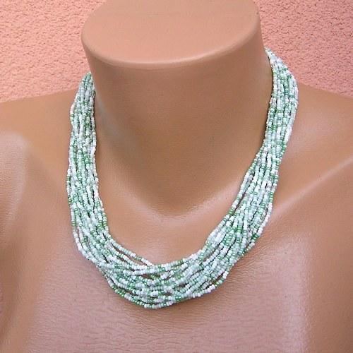 Víceřadý zelenkavý náhrdelník