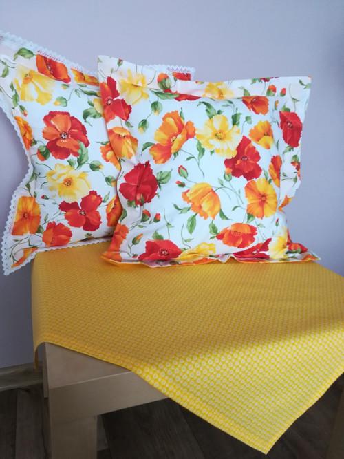 Napron bílé květinky na žluté