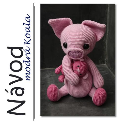Háčkované prasátko Pinky s medvídkem  - Návod