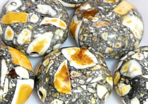 Marble , kámen, mozaika, 2 ks, 10-12 mm - žlutá