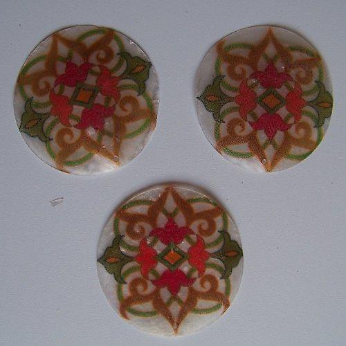 Perleťové malované kolečko tenké, 5 cm,Kaleidoskop