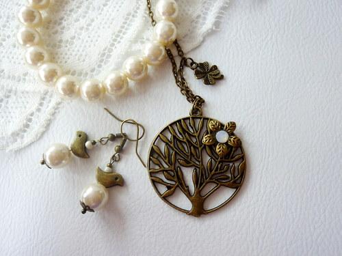Řetízek - Strom života + náramek + náušnice