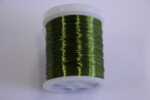 Měděný drátek 03mm - khaki, návin 48,5-50m
