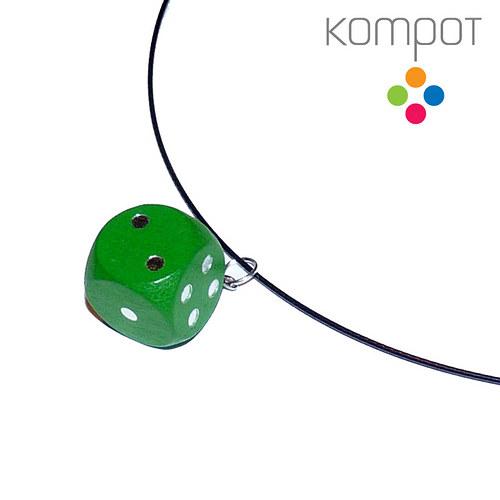 Náhrdelník s kostkou :: zelený
