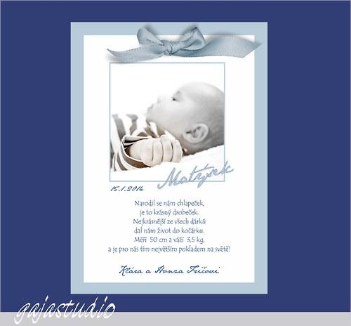 Oznámení o narození chlapečka