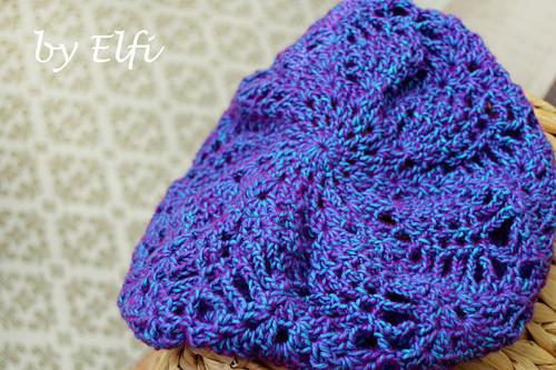 ♦ Fialovo-modrá háčkovaná čiapka/baretka ♦