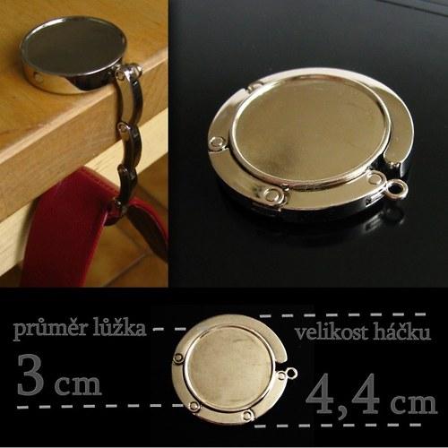 Skládací háček na kabelku s lůžkem o průměru 3 cm