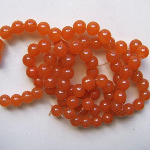 skleněné korálky imit. jadeit/ oranžový/10mm/10ks