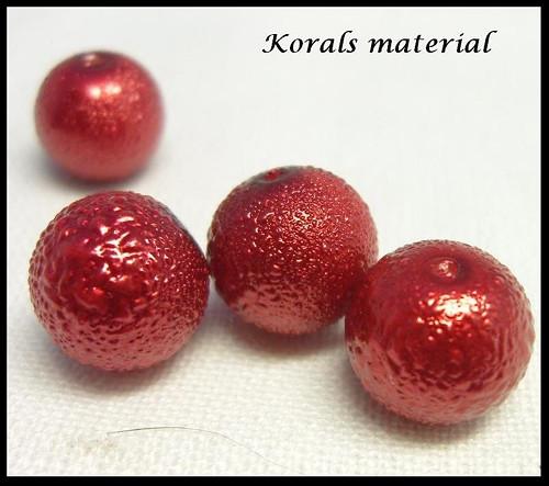 2154 Voskované perly/ 12mm/ 4 ks/ ČERVENÁ