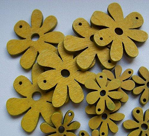 Dřevěná kytička s očky žlutá velká, 4ks