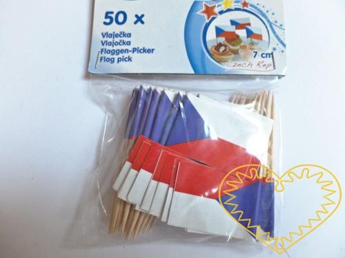 Česká vlaječka - přízdoba pohoštění 50 ks