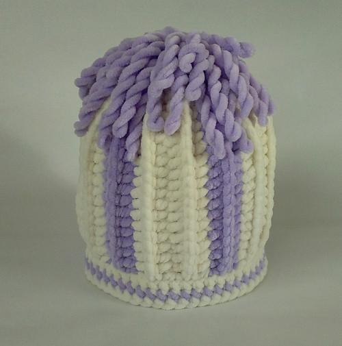 Dětská čepice - krémovofialová