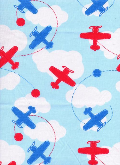 Látka, dětské, letadla, mráčky, červená, modrá