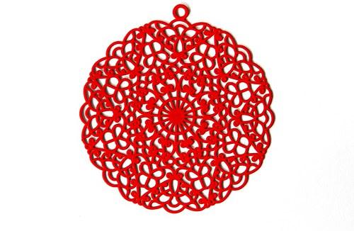 Měděný přívěsek kolečko 4cm - červený