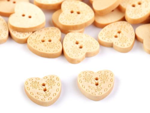 """Dřevěný knoflík srdce velikost 24\""""  (10ks)"""
