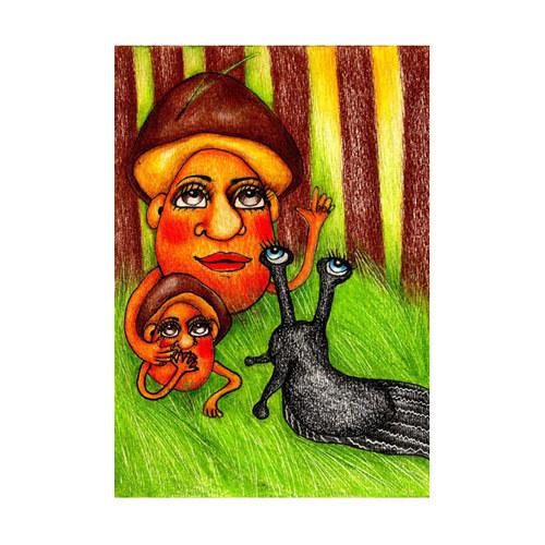 """Originál ilustrace \"""" Hřib a hříbek\"""""""