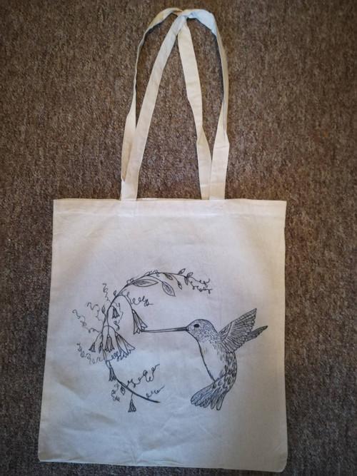 Plátěná taška - kolibřík
