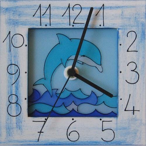 Delfín - hodiny v rámu 17cm