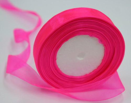 Neonově růžová organza - 45m