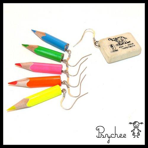 Neonové pastelky+guma (6náušnic za 1 cenu)