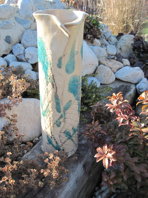 Váza  modřenka - Raku