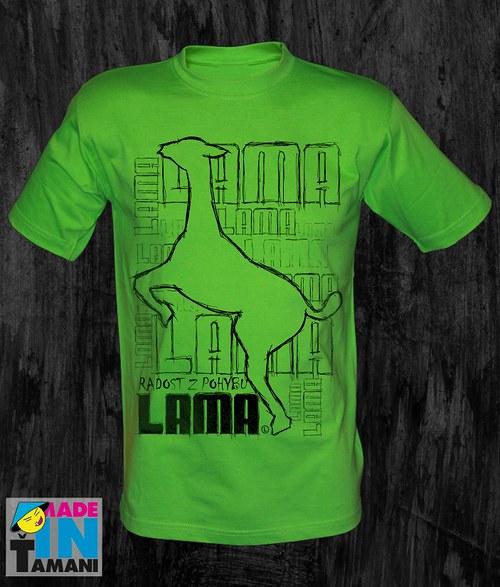 Pánské limetko zelené tričko s Lamou velký tisk 03