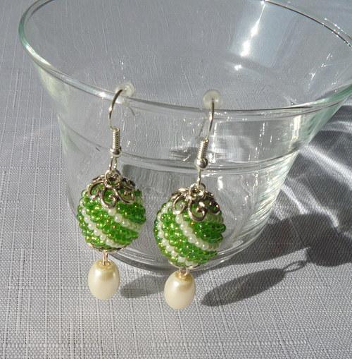 Náušnice kuličky - Zelené spirálky