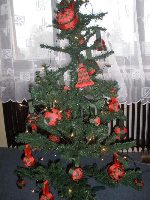 Patchworkové vánoční ozdobičky na stromeček-25ks