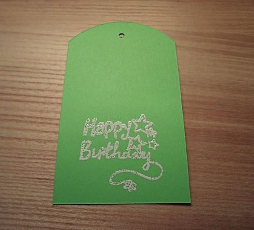 Visačky na dárky zelené HAPPY BIRTHDAY - 5ks