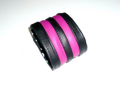 Koženkový náramek v růžovém