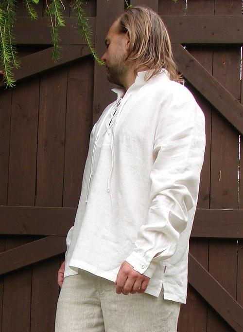Přírodní lněná pánská košile se šněrováním