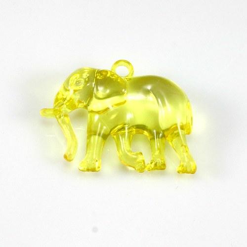 Žlutý slon - plastový přívěsek 3 ks, 32x26 mm