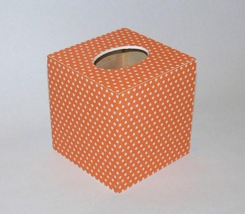 Krabička na kapesníčky - oranžová - puntík