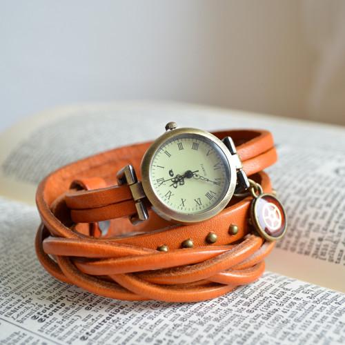 ORANŽOVÉ  ELEGANTNÍ  HODINKY, omotávací hodinky