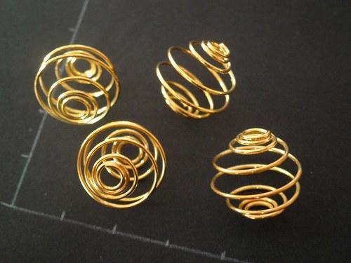 Klec na korálky velká, zlatá, 4 kusy