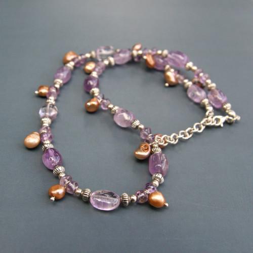 Ametystový náhrdelník s říčními perlami