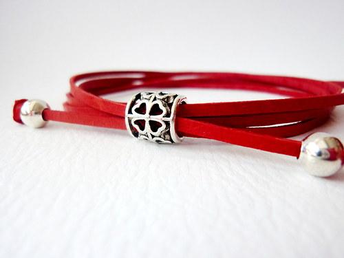 Náramek Kožený červený