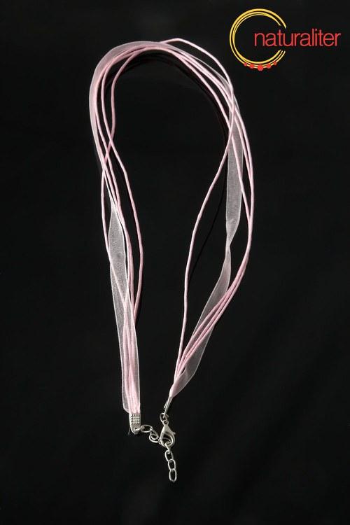 Náhrdelníková šňůrka - 48cm růžová