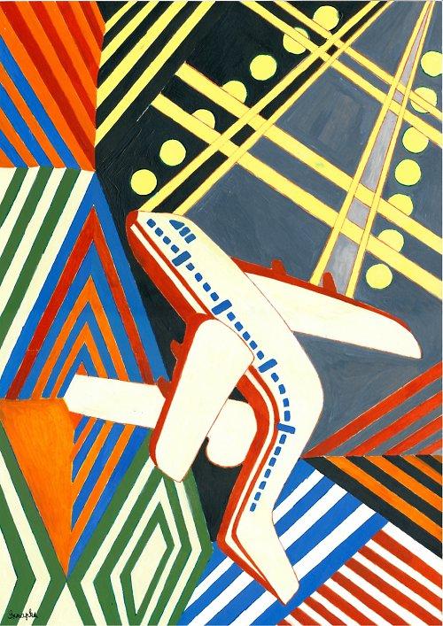 plakát-abstrakce-Letadlem znásilněná obloha