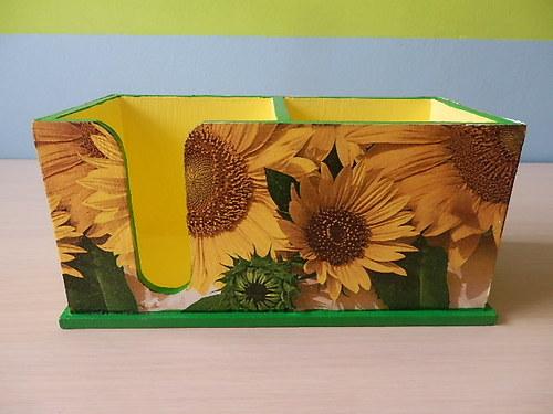2v1-stojánek na tužky+zásobník na bločky Slunečnic