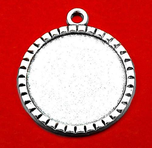 Ozdobný starostříbrný přívěsek s lůžkem Ø25mm
