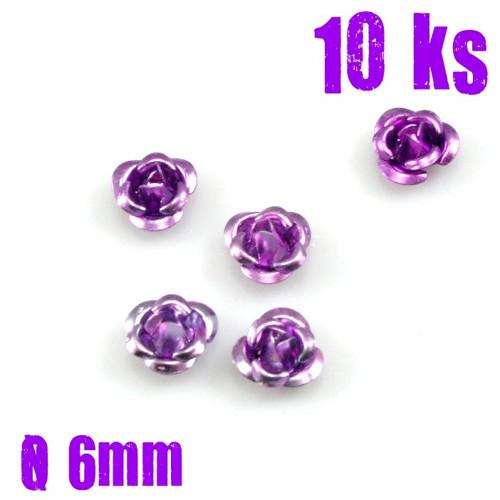 ALU korálky RŮŽIČKA světlá fialová, 6 mm, 10 ks