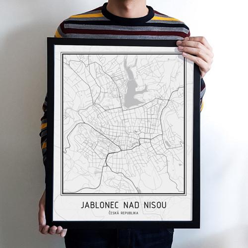 Plakát - mapa Jablonec nad Nisou